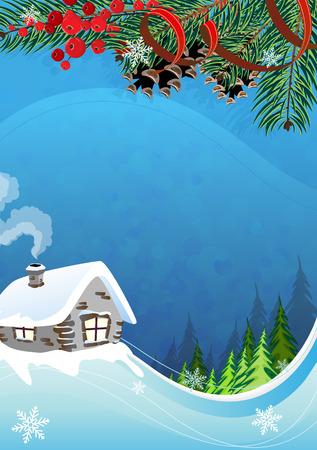 전원시의: 소나무 나무와 산 중 흡연 굴뚝 벽돌 오두막. 목가적 인 겨울 장면입니다.