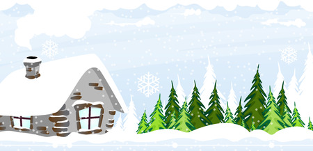 Hut in the snow covered pine forest. Winter landscape.