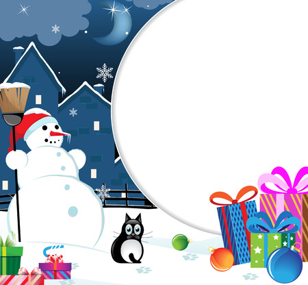 Snowman and black cat with Christmas presents and baubles Vector