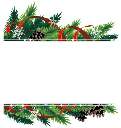 Spruce branches with cones and red ribbons Vector