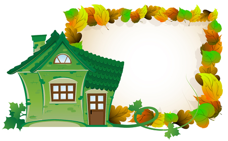 House with tiled roof on background of autumn leaves Çizim