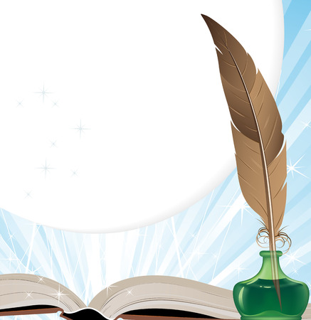Open book, ink and brown feather on a blue shining background