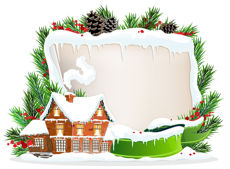Brick cottage with snow-covered roof and Christmas wreath with old parchment, ribbon and berries Vector