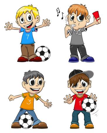 Niños jugando con la pelota y el árbitro con un silbato. Personajes de dibujos animados divertidos en un fondo blanco.