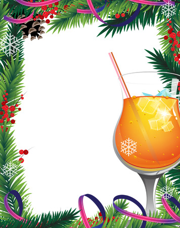 Orange cocktail with  ice cubes and red berries on white background Vector
