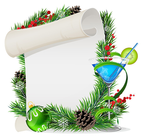 Christmas wreath with paper scroll, spruce branches and blue cocktail Vector