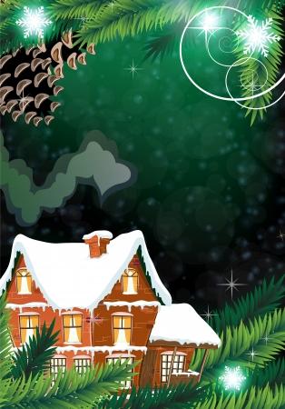전원시의: 벽돌 소나무 숲 사이에 연기가 굴뚝 별장. 목가적 인 겨울 장면. 일러스트