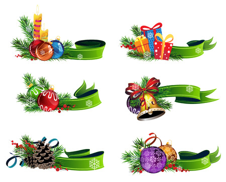 Set of Christmas decorations with green ribbons on white background Illustration