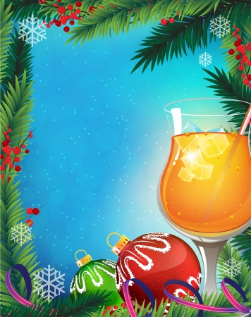 Orange cocktail with straw and ice cubes and Christmas decorations on a winter background Vector