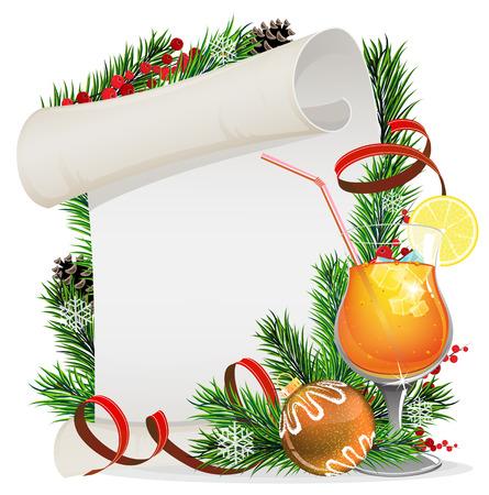 citrus tree: Corona de Navidad con papel de desplazamiento, ramas de abeto y c�ctel de naranja Vectores