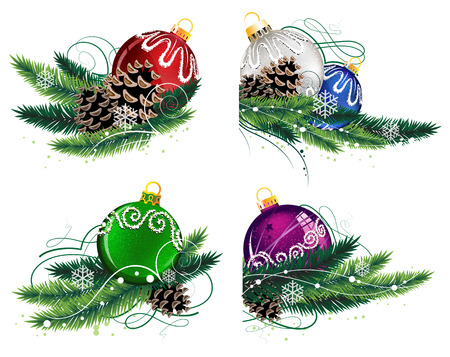 Set of Christmas decorations with pine branches and cones on white Illustration
