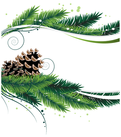 fir cone: Christmas wreath with pine branches and cones Abstract winter