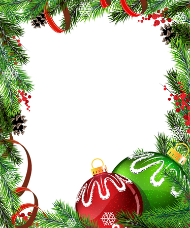 Red and green Christmas baubles with ribbon and fir tree branches on white Illustration