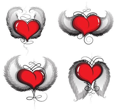 Valentine hearts with wings and vintage pattern on a white background. Valentines Day icons Vector