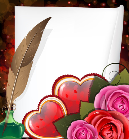 inkwell: Shining hearts with roses, parchment, inkwell and feather. Valentines Day card. Illustration