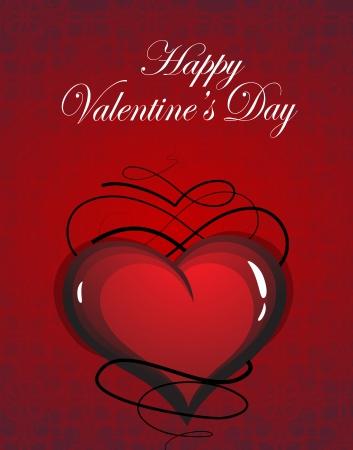 voluptuous: Vintage Valentine heart on red background