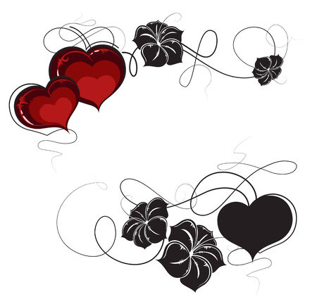 Red hearts and  black flowers silhouettes on white background. Valentines Day retro pattern Vector