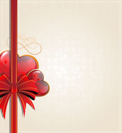 voluptuous: Sparkling Valentine hearts with bow and ribbon on a beige background  Illustration