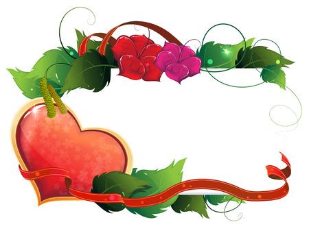 valentijn hart: Valentine hart, lint en bloemen op een witte achtergrond