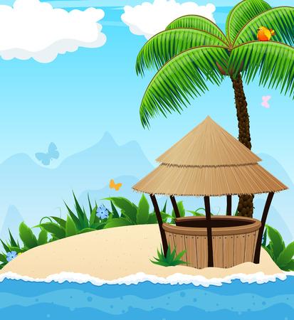 방갈로: 야자수와 방갈로 바 열 대 섬
