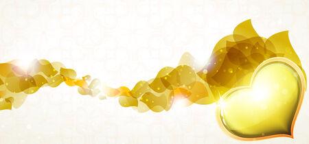 valentijn hart: Transparante bloemblaadjes met geel hart van de Valentijnskaart. Valentines Day Symbol Stock Illustratie