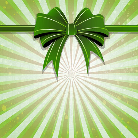 Green bow and ribbon on a striped background. St. Patricks Day symbol Vector