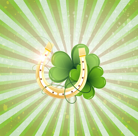 Golden horseshoe and clover on a striped background. St. Patricks Day symbol Vector