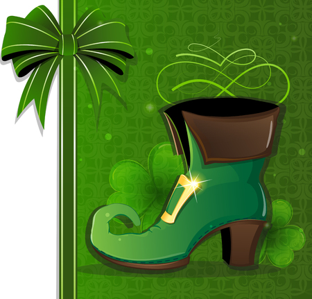 Leprechaun shoe with gold buckle on abstract green background. St. Patricks Day symbol Vector