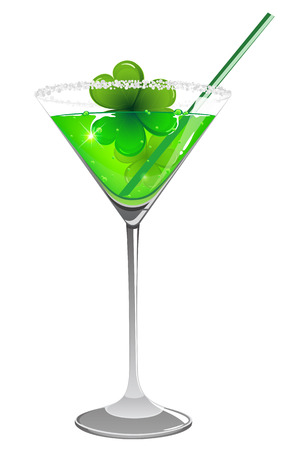 St. Patricks day cocktail with clover and straw on white background
