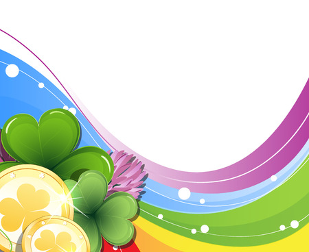 Gold coins and clover on rainbow background   St  Patrick Vector