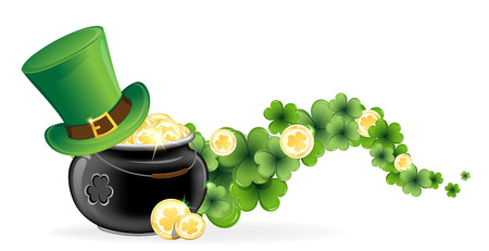 Leprechaun hat and pot with gold coins on waved clover  St  Patrick Vector