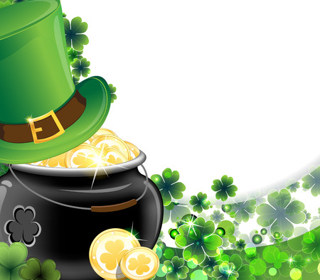 Leprechaun hat and pot with gold coins on clover background  St  Patrick Vector
