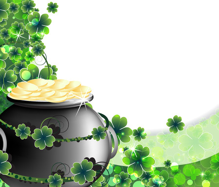 Leprechaun Pot with gold coins on abstract clover background  St  Patrick Illustration
