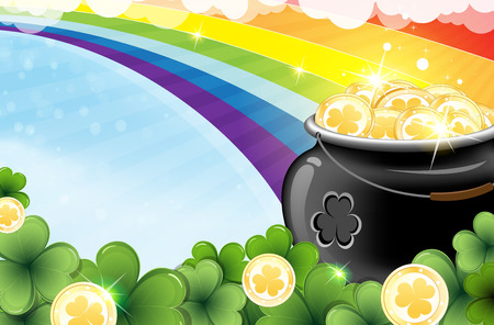 st patricks day:  Rainbow and pot with gold coins on abstract spring background  St  Patrick