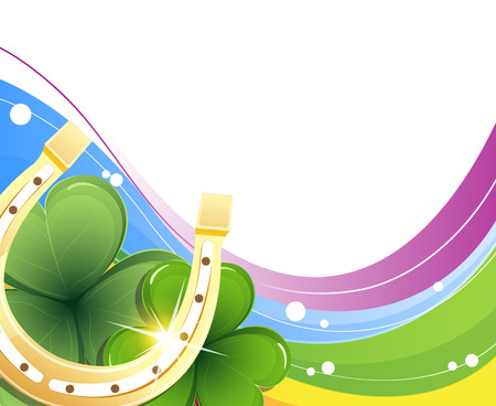Golden horseshoe and clover on rainbow background Vector