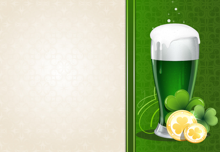ale: Glass of green ale with gold coins and clover on vintage green and beige background Illustration