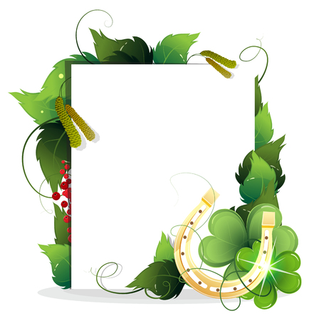 golden horseshoe: Golden horseshoe with clover and paper scroll on white background Illustration