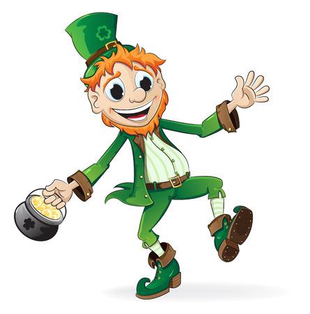 Smiling Leprechaun holding a pot of gold Vector