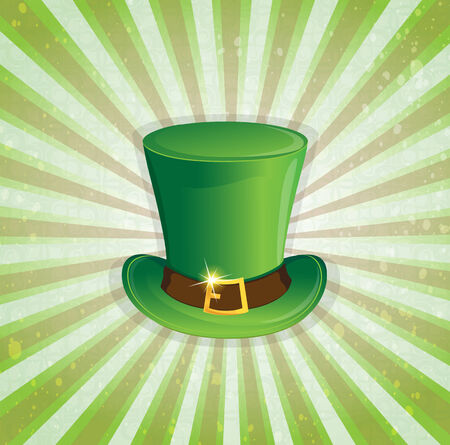 gold buckle: Leprechaun hat with gold buckle on a striped background
