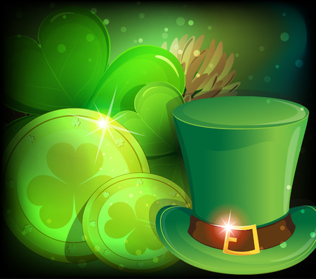 Leprechaun hat, clover and gold coins on a mystical St. Patricks Day background. Vector