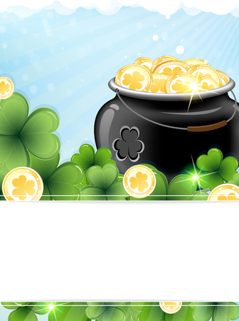 irish landscape: Pot with gold coins and clover on St. Patricks Day abstract background Illustration
