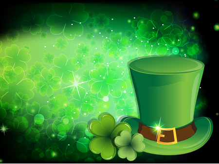 leprechaun hat: Leprechaun hat with gold buckle and clover. St. Patricks Day background. Illustration