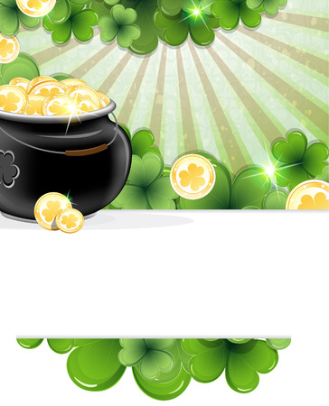 Pot with gold coins and clover on abstract striped  background. St. Patricks Day abstract background Vector