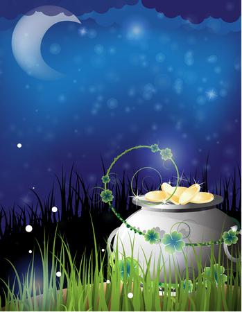 tag und nacht: Pot of Gold in das Gras. St. Patricks Tag-Nacht-Hintergrund