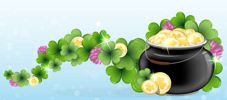 Pot with gold coins and clover on blue background. St. Patricks Day abstract background Vector
