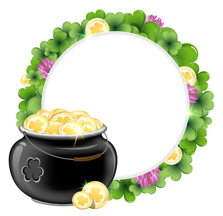 Clover wreath and magic pot with gold coins. St. Patricks Day background Vector