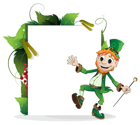 Happy Leprechaun with leaves and paper scroll on white background. St. Patricks Day invitation Vector