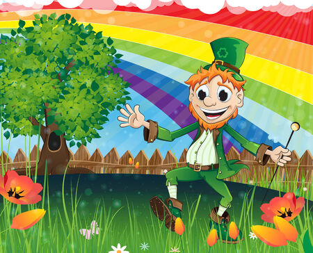 Cheerful Leprechaun on a spring meadow with a rainbow and blossoming flowers Vector