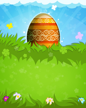 orange pattern:  Easter egg with orange pattern and butterflies in the meadow