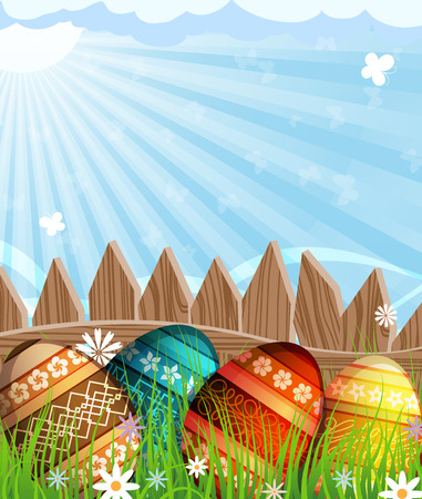 Colorful painted Easter eggs with abstract pattern near a wooden fence in the meadow Vector